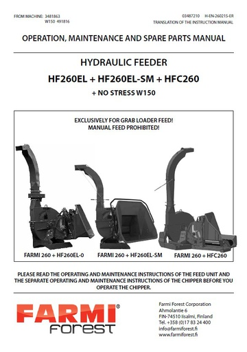 HF260-EL Manual and Spare Parts
